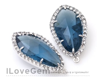 SALE / 10pcs / NP-1487 Rhodium plated, Blue Sapphire, Montana, Glass, Pendant