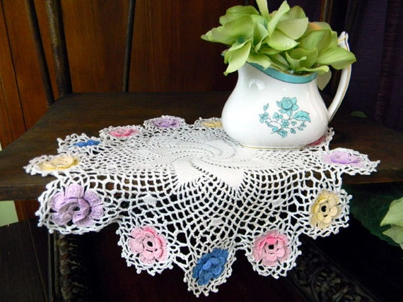 Vintage Doily - Spiral Center - Crocheted Multi Colored Florals 8218