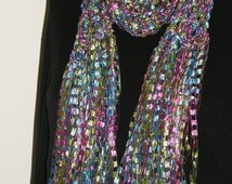 Fancy Ribbon Scarf Jewel Tone fuchsia Turquoise Green Fancy Ribbon Scarf Hand Crocheted McLeodhandcraftgifts