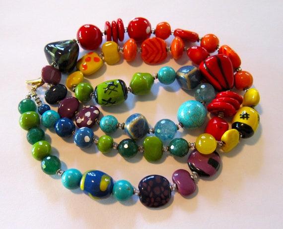 Beaded Necklace, Kazuri Beads, Semi Precious Stones, Fair Trade