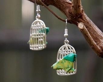 Origami Bird in a Birdcage Earrings - Light Green Floral