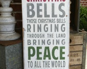 Christmas Bells Typography Word Art Sign in Vintage Style