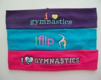 Gymnastics Embroidered Stretch Headband