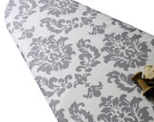 PADDED Ironing Board Cover made with Riley Blake Mystique light gray damask on white