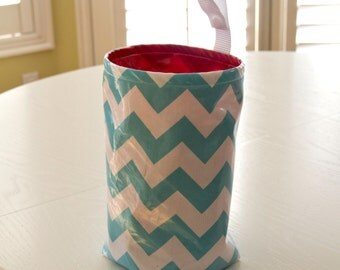 Wastebasket car trash can collapsible use anywhere crafting thread catcher turquoise chevron/red lining laminated cotton waterproof WASTIE