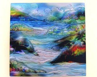 """Magical Landscape Abstract Art 14x14'' giclee - """"Tribute to Vadim"""""""