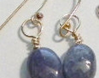 14k Gold and Genuine Tanzanite Earrings