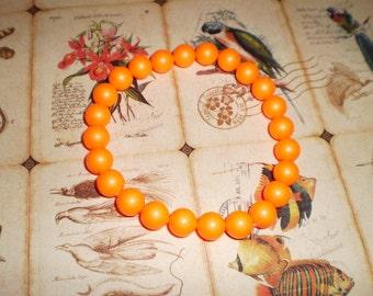 Swarovski Pearl Stretch Bracelet in Neon Orange