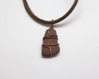 Brown Beach Pebble Necklace, Leather Cord, Handmade, Men's Necklace, Women's Necklace, Lake Erie, Beach Jewelry, Beach Wear