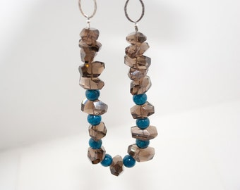 Smoky Quartz and Apatite Sterling Silver Chain Necklace