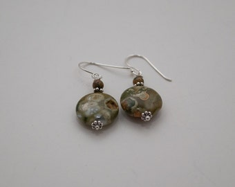 Rhyolite Rainforest Jasper and Sterling Silver Earrings