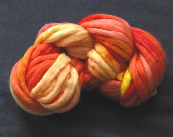 Fractal Roving for Spinning -  Peach Analogy Dark 115g (4oz)