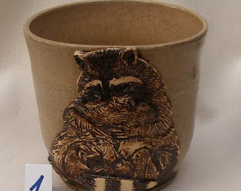 SALE, Gift for Mom, Raccon, Stoneware Ceramic Vase , Utensil Holder No.1