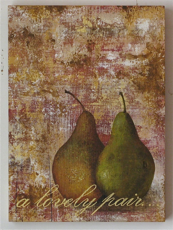 pears, original acrylic painting on reclaimed rustic solid wood board, a lovely pair..
