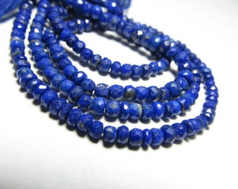 5x14 inches - Gorgeous - AAAA - High Quality Natural Deep Blue - Lapis Lazuli - Micro Faceted Rondell Beads size 3.5 - 4 mm approx
