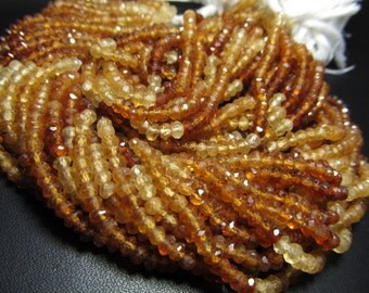 5x15 inches - Gorgeous - Hessonite Garnet - Shaded - Micro Faceted - Rondell Beads size - 3.5 - 4 mm approx Super Sparkle