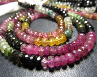 2x14 Inches - Trully very Rare High Quality  Water Melon Pink Multy Tourmaline SHADED - Micro Faceted Rondell Beads size 4- 4.5mm approx