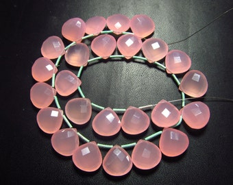 10 Matched Pairs Calibrated size 12x12 mm - Gorgeous Pink Rose CHALCEDONY - Faceted Heart  Briolett Total 20 pcs