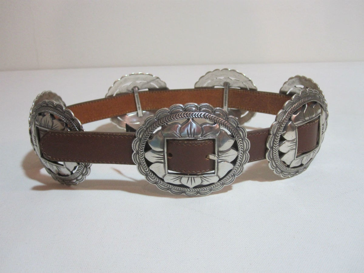 Vintage Leather Southwestern Silver Concho Belt Wide Waist