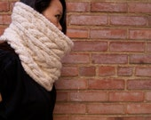 The U Street Cowl - Ivory. READY TO SHIP. Modern off-white ivory cream chunky cowl cable knit