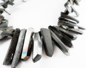 Titanium Gunmetal Grey Coated Quartz Points, Dagger Shape Quartz,  Solid finish, 15-30mm   Sold by 4-8  pieces