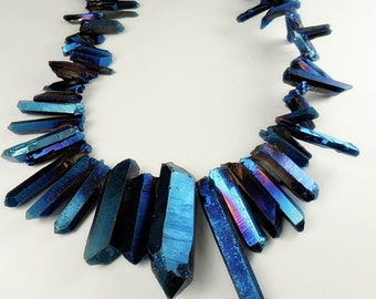 Gemstone, Electric Blue Violet  Electroplated Quartz Points, Dagger Shape Quartz,  Solid finish, 15-35mm 4 inches