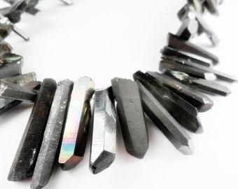 Titanium Gunmetal Grey Coated Quartz Points, Dagger Shape Quartz,  Solid finish, 15-30mm   Sold by 4-8  pieces