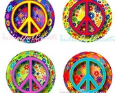 3D Hippie Peace Signs (Neon Pink, Purple, Blue, Green)  Bottle Cap Image Set - One Inch Circle Digital Image Sheet