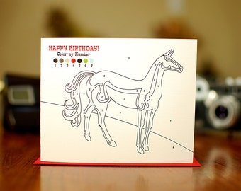 Color By Number Horse Birthday Card on 100% Recycled Paper