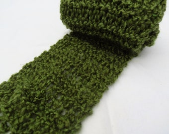 GREEN Knit Scarf - OLIVE Hand-knit
