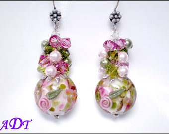 My Romance Floral Lampwork Earrings in Shimmering Pink and Green