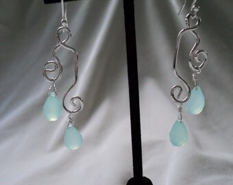 Delectable Double Dangles Freeform Sterling Silver and Chalcedony Earrings