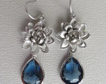 LADY OF NORWAY - Blue Sapphire Crystals Lotus Earrings  - Matte rhodium - Lotus Blossom earrings