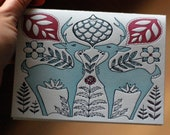 Flora and Fauna Letterpress Holiday Card