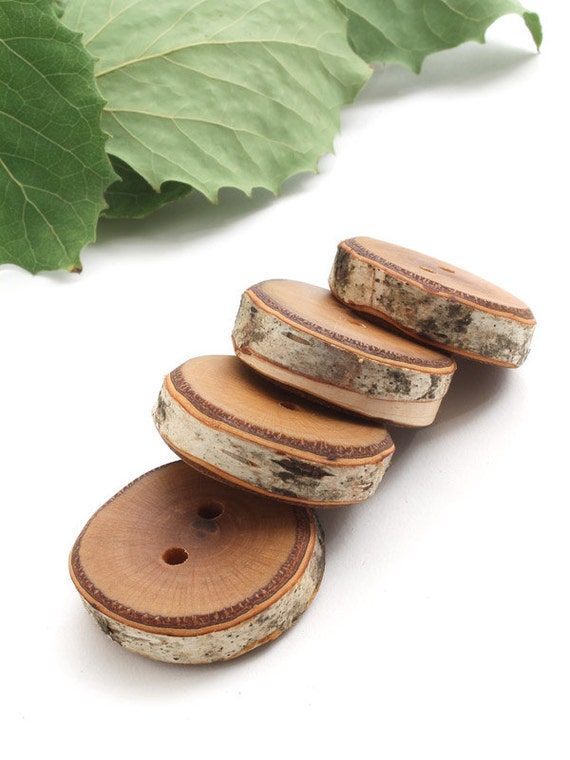 Rustic Natural Wood Buttons (Set of 4) - Made from a White Paper Birch Tree . Sustainable Wisconsin Wood