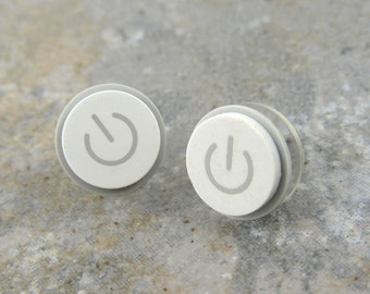 Power Up, Studs, iEarrings, Silver Power Buttons, Handmade, Recycled, MAC Power Buttons, made to order
