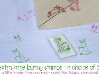 Extra Large Naive Bunnies  Olive Wood Choice Of 3  Stamps