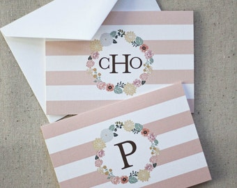 Monogrammed Floral Wreath Notecards in Melon - Set of 10 fold-over cards