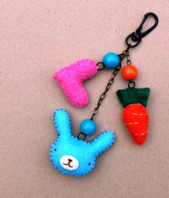 Miss blue bunny /original cute / snap hook for key ring