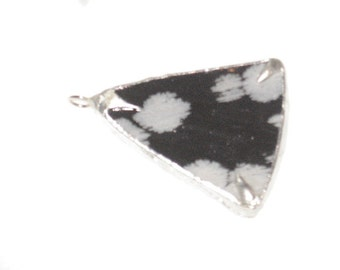 Snowflake obsidian and silver  pendant
