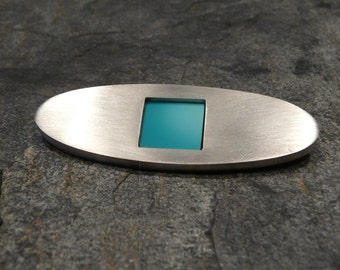 Sterling Silver and Turquoise Brooch- Pin OOAK