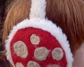 meerwiibli red beige polka dot fluffy earmuffs - meerwiibli