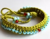 Green and Blue Beaded Bracelet - 'Garden Way Above'