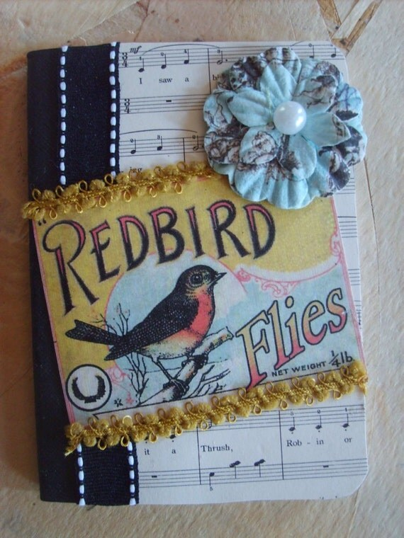 Vintage Inspired Bird Mini Altered Composition Book