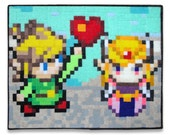 Link and Zelda Be My Valentine 8 x 10 Felt Collage