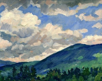 Cloudy Day, Berkshires. Oil Painting Landscape, 9x12 Original Plein Air Impressionist Fine Art, Small Realist Artwork, Signed Oil on Panel