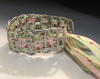 Recycled Soda Pop Can Tab Bracelet pink flowers ribbon