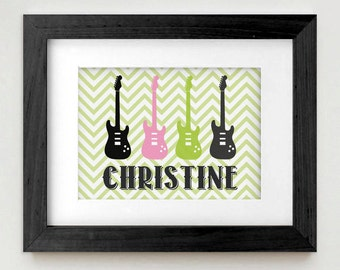ROCK GUITAR Personalized Art in Pink