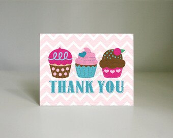 CUPCAKE THANK YOU Card in Pink and Teal- Instant Printable Download pdf