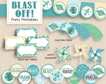 BLAST OFF Baby Shower Printable Package in Seafoam & Teal- Instant Download